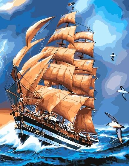 Картина по номерам 40x50 Оранжевый парус в буйном море