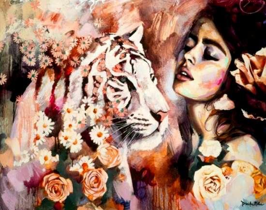 Алмазная мозаика 40x50 Розы с ромашками, белая тигрица и девушка