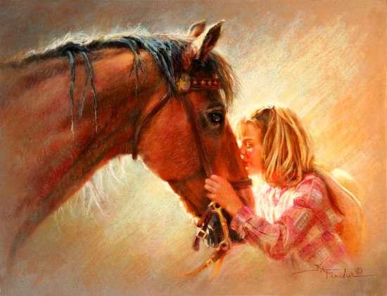 Картина по номерам 40x50 Девушка благодарит лошадь за прогулку