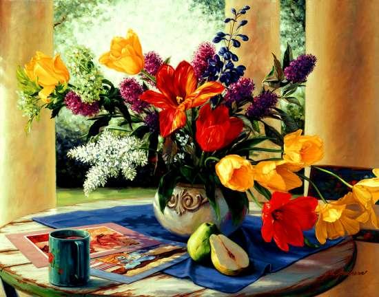 Картина по номерам 40x50 Букет цветов и чашка кофе