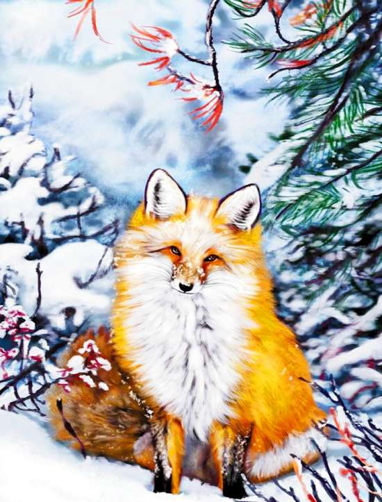 Алмазная мозаика 40x50 Рыжая лисичка на снегу под ёлкой