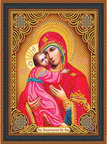 Алмазная мозаика частичная 27x33 Икона Владимирская Богородица