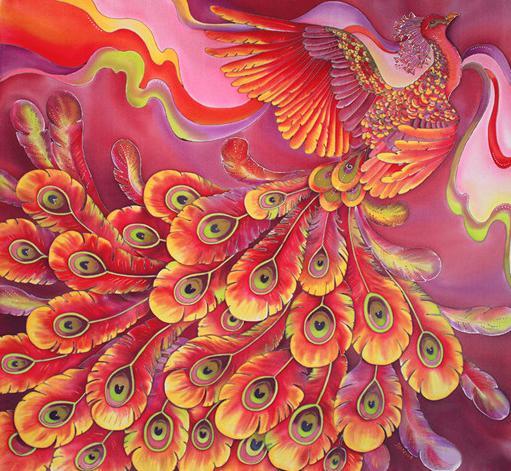 Алмазная мозаика частичная выкладка 21x25 Жар-птица стремительно взлетает