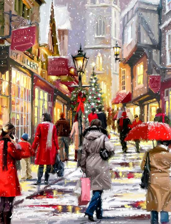 Алмазная мозаика 40x50 Сказочная зима в городе