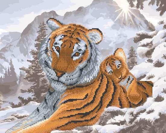 Алмазка-раскраска Тигренок на маме среди снега
